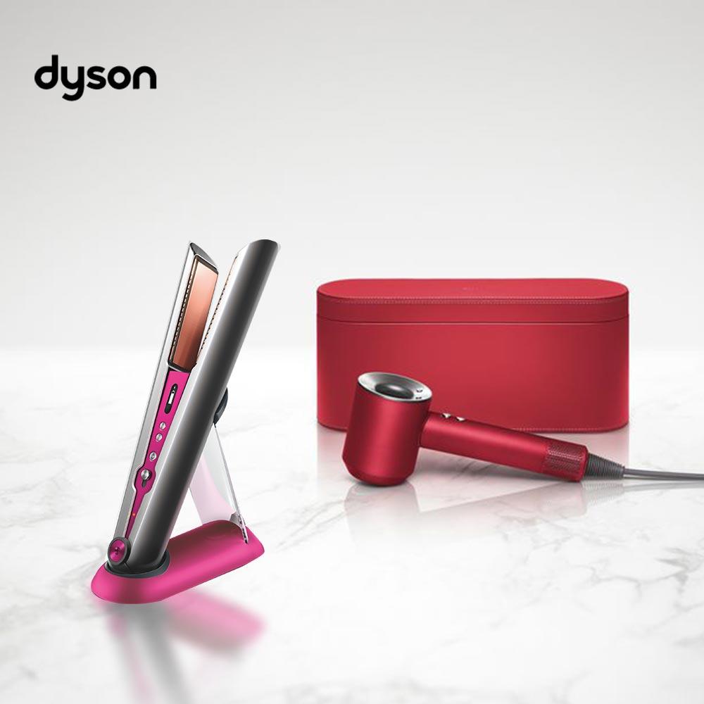 【!!強運組合!!】Dyson Corrale 直捲髮造型器 HS03(桃紅色)+新一代Dyson Supersonic™ 吹風機 HD03 全瑰麗紅禮盒精裝版