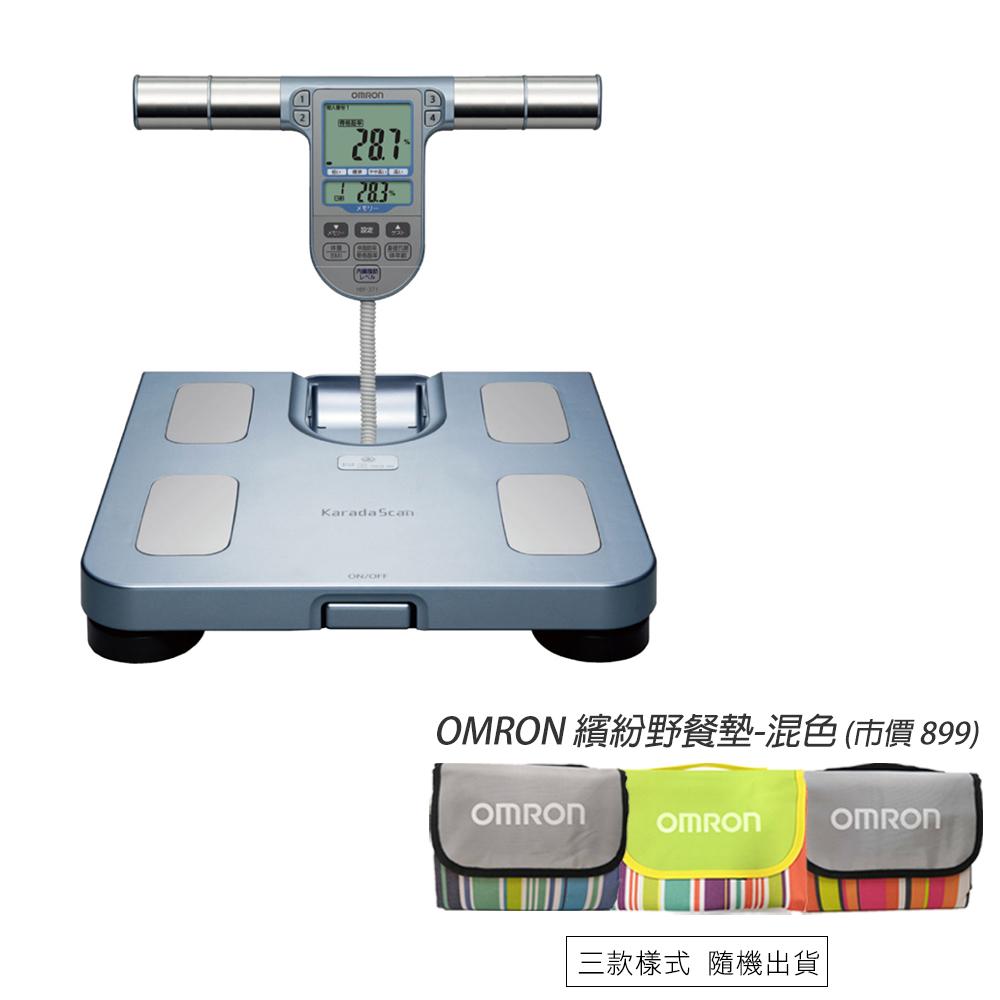 【送繽紛野餐墊】OMRON 歐姆龍 體重體脂計 HBF-371(藍色)